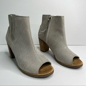 Toms grey suede peep toe quilted ankle bootie 6.5